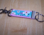 READY TO SHIP - Beautiful Key Fob Keychain - Farmdale Blossom on Light Pink with Clasp