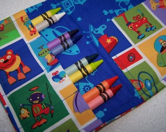 Coloring Wallet - Bot Camp by Michael Miller, Crayons and Paper Included