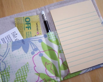 Mini List Taker, Organizer, Coupon Holder, Checked Floral by Erin McMorris, Notepad And Pen/Pencil Included