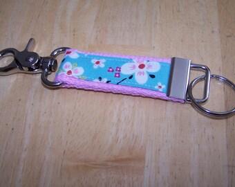 Beautiful Key Fob Keychain - Farmdale Blossom on Light Pink with Clasp