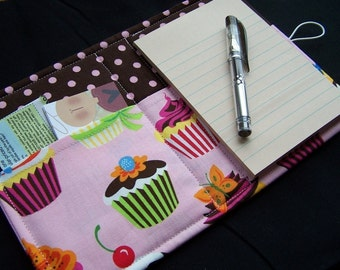 Mini List Taker, Organizer, Coupon Holder, Sweet Tooth by Robert Kaufman, Notepad And Pen/Pencil Included