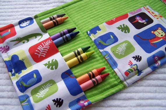 Coloring Wallet - Jungle Box Multi by Michael Miller, Crayons and Paper Included