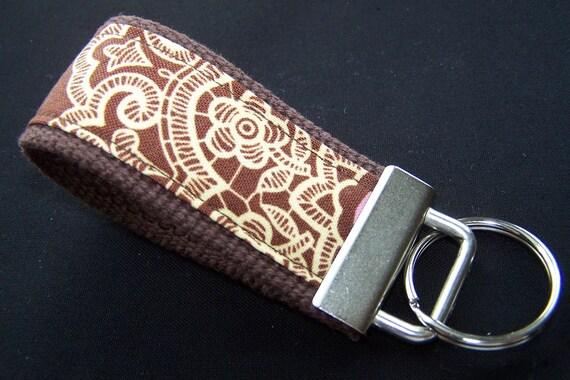 Mini Key Fob Keychain - Amy Butler Brown Lacework