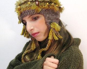 Peruvian Inspired Crocheted Folk Art Hat/Inca Gold