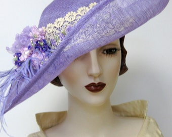 Edwardian Inspired Lavender Portrait Hat