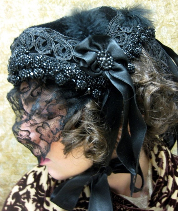 Victorian Mourning Hat ca. 1861/ Reproduction