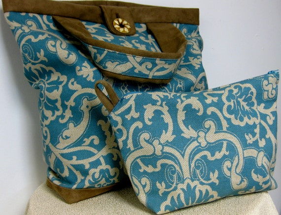 Reserved for Mary Margaret/ Rococo Turquoise and Cream Tote Set