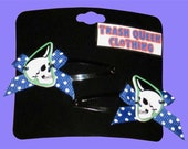 On Sale PSYCHOBILLY SKULLS Hair Clips with Bows