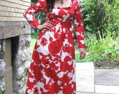 On Sale Vintage 60s 70s Red and White FLORAL Hawaiian Maxi Dress S/M
