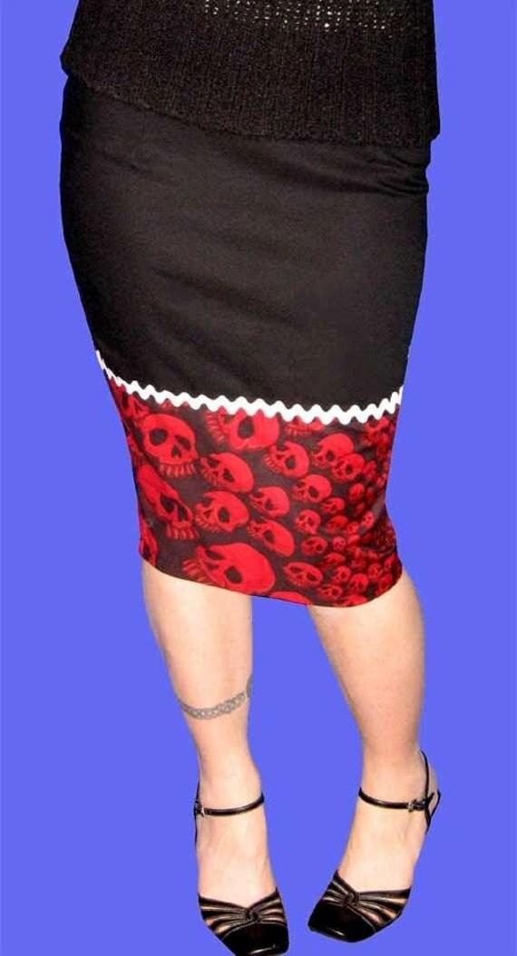 SALE Red and Black Spiral SKULLS Wiggle Pencil Skirt L