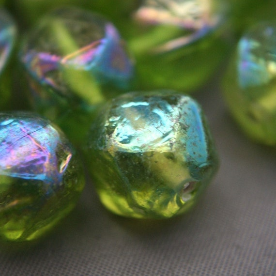 8 Vintage India Glass Green Baroque Nugget Beads AB 13mm