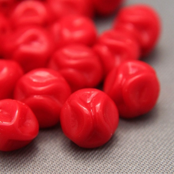12 Vintage German Red Opaque Glass Pinched Wavy Round Beads 7mm
