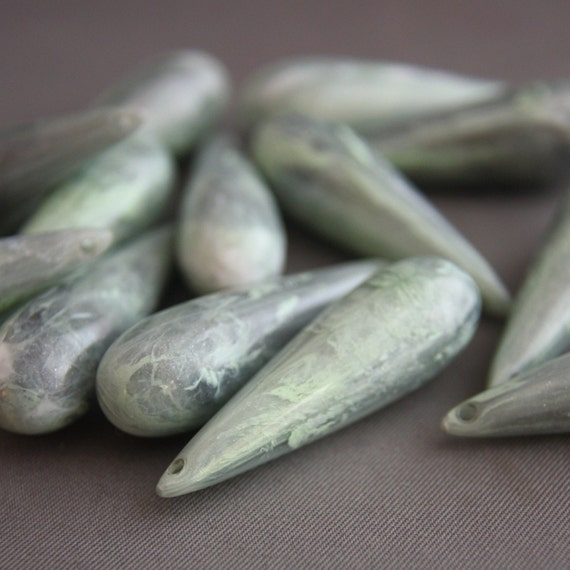 4 Vintage Green Gray White Lucite Marbled Pendant Drop Beads 40mm
