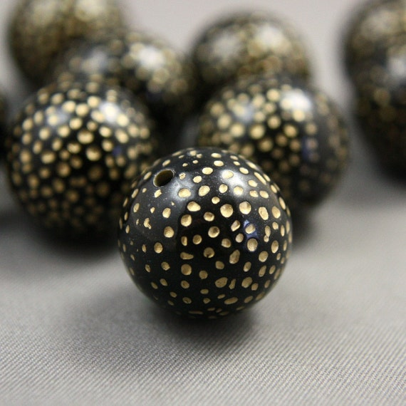 6 Etched Round Polka Dot Black Gold Acrylic Beads 17mm