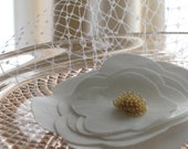 Fire Sale: Mini Birdcage Veil With White and Gold Flower