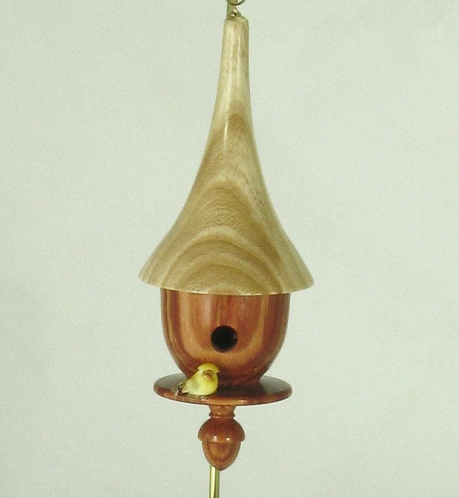 Christmas ornament turned wood birdhouse ash and tulip