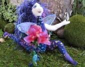 ooak cloth art doll Diantha the flower faerie