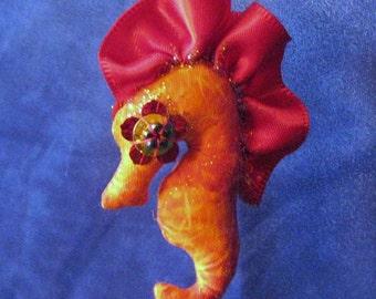seahorse, ooak cloth art doll Aydan