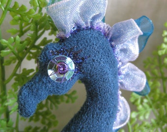 ooak seahorse cloth art doll, Berle