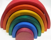 Wooden Stacking Nesting Rainbow  Blocks