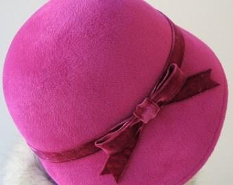 Pink Cloche Hat- Winter Hat- Winter Accessories- Women's Hat- Flapper Hat- 1920s Style Hat- Handmade Hat- Couture Cloche Hat- Magenta Hat