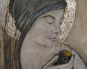 bird madonna- original painting - roseymorris