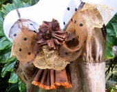 Shabby Boho Copper XL Camisole with Beads, Sequins, Lace and Ruffles