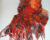 RESERVED FOR CHRISTY: Pacific Sunset Hand Knit Scarf Boho Eco-Chic
