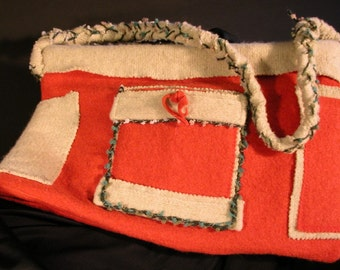 Shoulder Purse from Two Felted Sweaters inTangerine and Green