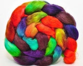 Wensleydale Hand Painted Wool Roving Combed Top Spinning or Felting Fiber - 4.1 oz - CIRCUS