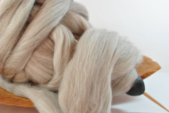 Undyed Merino Combed Top Roving for spinning of felting - Light Brown Bare - 8 oz