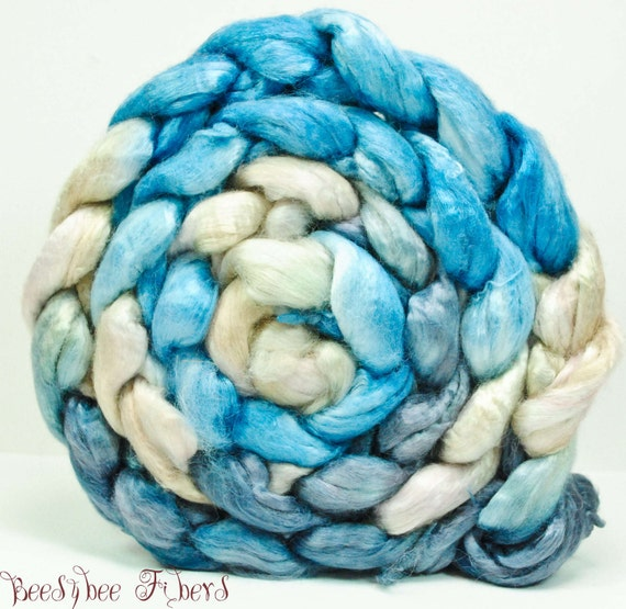 Handpainted Combed Top Roving Rayon from Bamboo for spinning or carding - 4.4 oz - Vodka Trojka