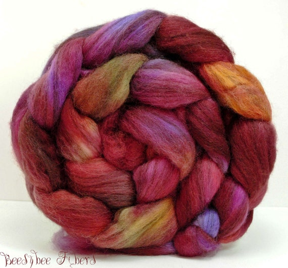 Wool Roving Hand Painted Blue Face Leicester Combed Top Spinning or Felting Fiber - 4 oz - FLUTTERBY SWING