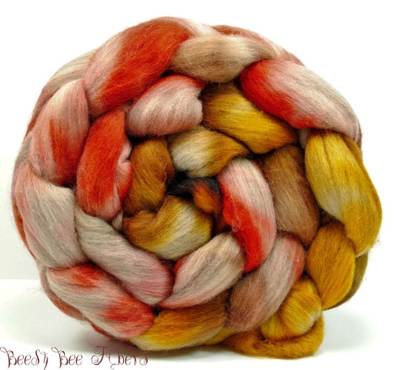 Hand Painted Wool Roving Merino Combed Top Spinning or Felting Fiber - 4.3 oz - WILD CARROTS