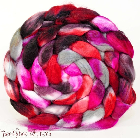 Faux Cashmere Vegan Roving Hand Painted Combed Top Spinning or Blending - 4.5 oz - BLOOD THIRSTY
