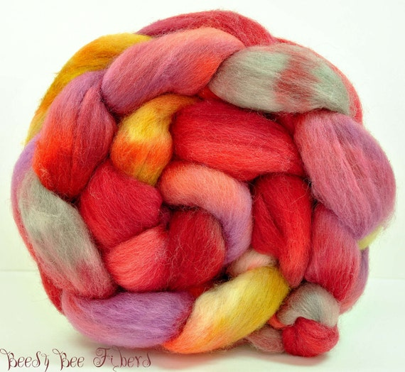Hand Painted Wool Roving CORRIDALE Combed Top Spinning or Felting Fiber - 4.3 oz - PROLOGUE