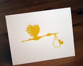 Letterpress Yellow Stork Unisex Shower/Baby Announcement Card
