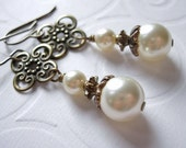 Swarovski Cream Pearl and Antique Brass Flower Link, Wire Wrapped Earrings, Long, Ivory, Vintage Style, Wedding, Bridal