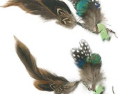 Double dangle feather earrings turquoise coyote