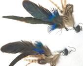 Double dangle feather earrings hematite or dumortierite Zuni bear