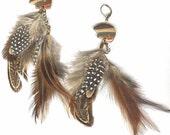 Double dangle feather earrings sunset jasper Zuni bear