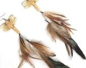 Double dangle feather earrings bone dragonfly