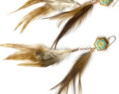 Double dangle feather earrings Chinese enamel Star of David
