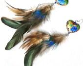 Double dangle feather earrings Chinese cloisonne enamel hummingbird hearts