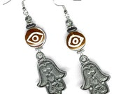 Pewter Hamsa earrings with horn eye bead