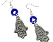 Pewter Hamsa earrings cobalt glass star Magen David