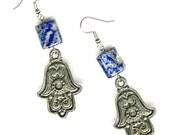 Pewter Hamsa earrings lapis or serpentine large gemstone