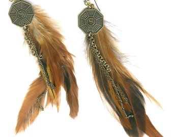 Natural feather extra-long earrings I Ching coin Chinese bagua trigram