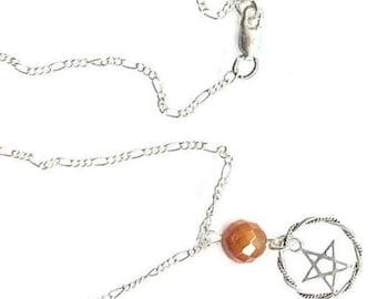 sterling pentacle pentagram carnelian lapis amethyst gemstone chain