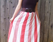 1970's Red and White Patch Work Floor length Skirt reserved for kristinet